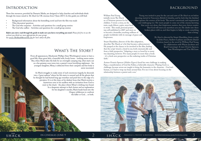 The Shack Damaris booklet p2-3